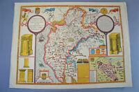 Vintage decorative sheet map of Cumberland Carlisle town plan John Speede 1610