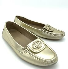 Gucci Light Gold Interlocking GG Leather Moccasins Loafers Shoes Size 37.5 7 US