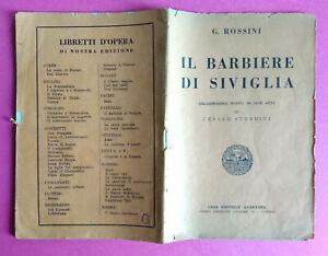 Libretto Teatro CESARE STERBINI G.Rossini Il Barbiere Di Siviglia Melodramma
