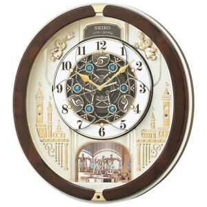 New Seiko Clock Wall Clock Analog Melody Re579b Brown From JAPAN Fast Shipping