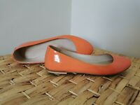 Witchery Women's Ballet Flats Size 36 Made in India Leather Bright Peach Colour