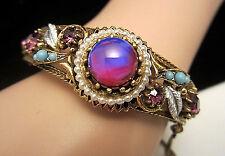 Rare Vintage Signed Florenza Goldtone Jeweled Rhinestone Clamper Bracelet A66