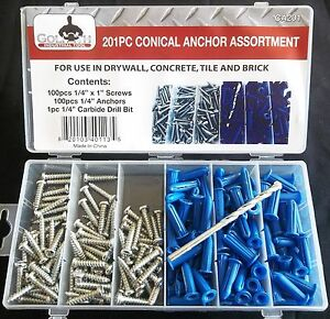 201pc GOLIATH INDUSTRIAL CONICAL ANCHOR ASSORTMENT WALL DRYWALL CONCRETE CA201
