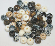 8mm - 72 Pc / Pack - Hand Crafted & Carved Bone Beads - 4 to 6 Colors / Pack