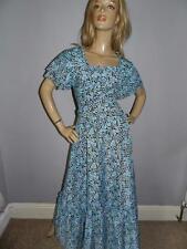 VINTAGE 1970s 70s BLUE ROSE PRINT FLORAL ROMANCE FLUTTER SLVD MAXI DRESS 8-10