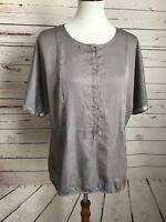 Ann Taylor LOFT Silver Gray Large Button Down Short Sleeve Sequin Top Shirt