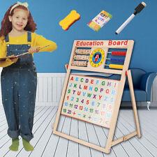Kids Easel - Wooden 2in1 Blackboard Whiteboard Childrens Drawing Art Chalk Board