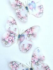 Shabby Chic Butterflies 4 Pastel Budgies Roses 3D Wall Stickers Hand Made Gift