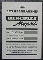 abe hercules moped Betriebserlaubnis Blanko 1A Design grau  papier sachs 50 top