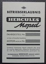 3 stk abe hercules moped Betriebserlaubnis Blanko 1A Design grau papier sachs 50
