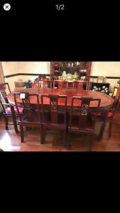 Chinese Huali Rosewood Dining Table (Round or oval or larger oval)Set 8 Chairs.