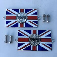 Pair of TVR Union Jack GB Brass Enamel Classic Car Badges - Bolt On