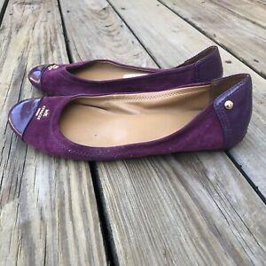 Coach Chelsea Suede Patent Leather Purple Ballet Flats Shoes Size 8 8B 8 Medium