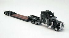 Norscot Peterbilt 389 Black w/Trail King Low Boy Trailer Die-Cast 1/87 HO Scale