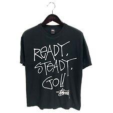 STUSSY READY STEADY GO T-shirt Black L Large 100% Cotton