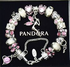 Authentic Pandora Bracelet Silver Mom Wife Pink Murano Beads European Charms New