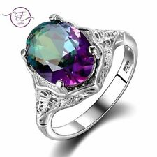 Rainbow Fire Mystic Topaz Stone Ring Sterling Silver Finger Jewelry For Women