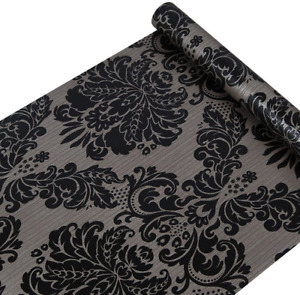 Black Damask Wallpaper Self Adhesive Shelf Vinyl Paper Peel And Stick Damask