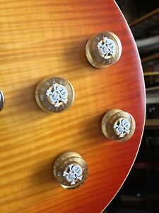 4 x Epiphone Gibson Les Paul SG Gold Skull Speed Knobs 6mm FREE POSTAGE!!