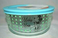 """Pyrex Disney Mickey Mouse """"The True Original"""" 4-Cup Bowl w Blue Lid Dots NEW"""