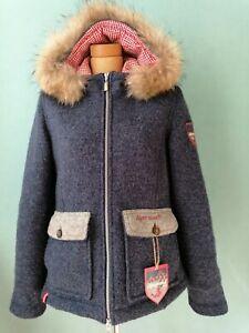 Almgwand Almrausch Loden Jacke Gr. 40 Trachtenjacke mit Kapuze Blau Top