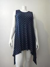 Comfy U.S.A. Black/Gray Modal Jersey Striped Sleeveless Long Tunic Size L