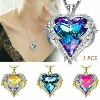 Women's Angel Wing Long Necklace Heart Rhinestone Crystal Chain Pendant Jewelry