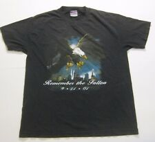 "VINTAGE 9/11 ""Remember The Fallen 9.11.01"" Eagle American USA Black Gray T-shirt"