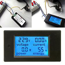 20A AC Digital LCD Panel Power Meter Monitor Power Energy Voltmeter Ammeter
