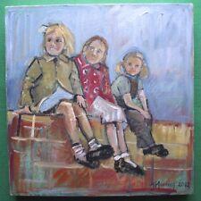 Excelente figurativa Estudio: Pintura Al Óleo Original byjane Murray: Chicas en una pared