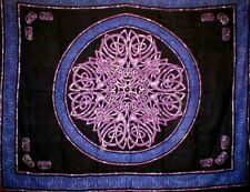 """Celtic Circle Tapestry Cotton Bedspread 108"""" x 88"""" Full-Queen Blue"""