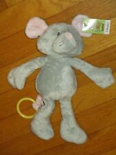 New listing Nwt Baby Ganz Plush Gray Pink Mouse/Nice Mice Rattle/Toy/Lovey