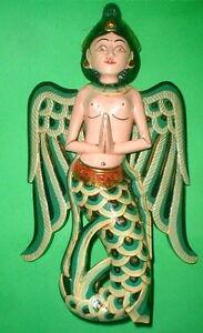 "Sita Dewi Bali Rice Goddess Wings Mermaid Wood Carving Large 15"" Bright Green"