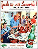 1952 7 Up cola kitchen strawberries family bottles vintage photo Print Ad  adL26