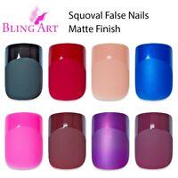 Bling Art False Nails Black Red Pink Brown Squoval 24 Fake Medium Tips 2g Glue