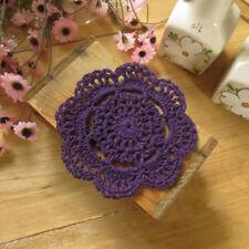 4Pcs/Lot Purple Vintage Hand Crochet Lace Doilies Round Coasters 4inch Floral