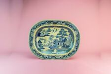Large Blue White Willow Platter Meat Turkey Serving Victorian Antique English 19
