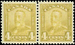 Canada Mint NH F-VF Pair of 4c Scott #152 1929 King George V Scroll Stamps