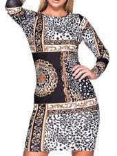 Vestiti da donna a manica lunga casual fantasia stampa animalier