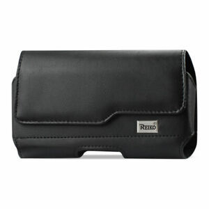 "HORIZONTAL LEATHER POUCH WITH ""Z STYLE LID"" FOR CELL OR SMART PHONE IN BLACK"