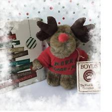 "New ListingBoyds Bears Christmas Moose Red Sweater W/""Merry Moose-Mas"" Thinkin' of Ya"