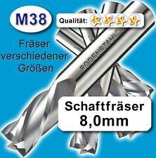 8mm Fräser L=82 Z=2 M38 Schaftfräser Metall Kunststoff Holz vergl. HSSE HSS-E
