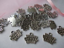 20 X 'Worlds Greatest Mom' Silver Tibetan Metal Charms Pendants - Mothers day