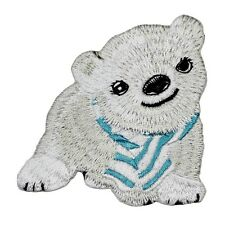 Cute Polar Bear Cub With Scarf Patch Baby Animal Embroidered Iron-On Applique