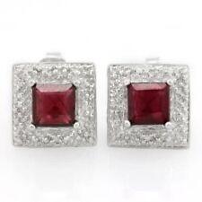 Ohrringe/Ohrstecker Cary, 925er Silber, 1,96 Kt. echter Granat/Diamant