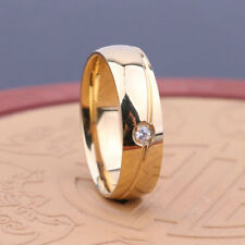 Wedding Engagement Ring Band Size 6-11 Fashion Men Women Crystal Titanium Steel