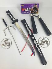 Kids 100% Plastic Toy Samurai Sword Ninja Weapons Set Fancy Dress Party Weapons