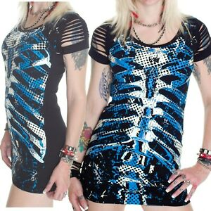 BANNED BLUE RIBCAGE LONG TOP / MINI DRESS GOTH  PUNK GOTHIC ALTERNATIVE size 10