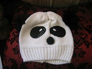 White Panda Knitted Hat With Black PomPom Ears, One Size