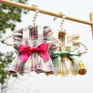 Cute Plaid Bow Pet Dog Dress Clothes Pleated Skirt Puppy Cat Dress Wedding Party